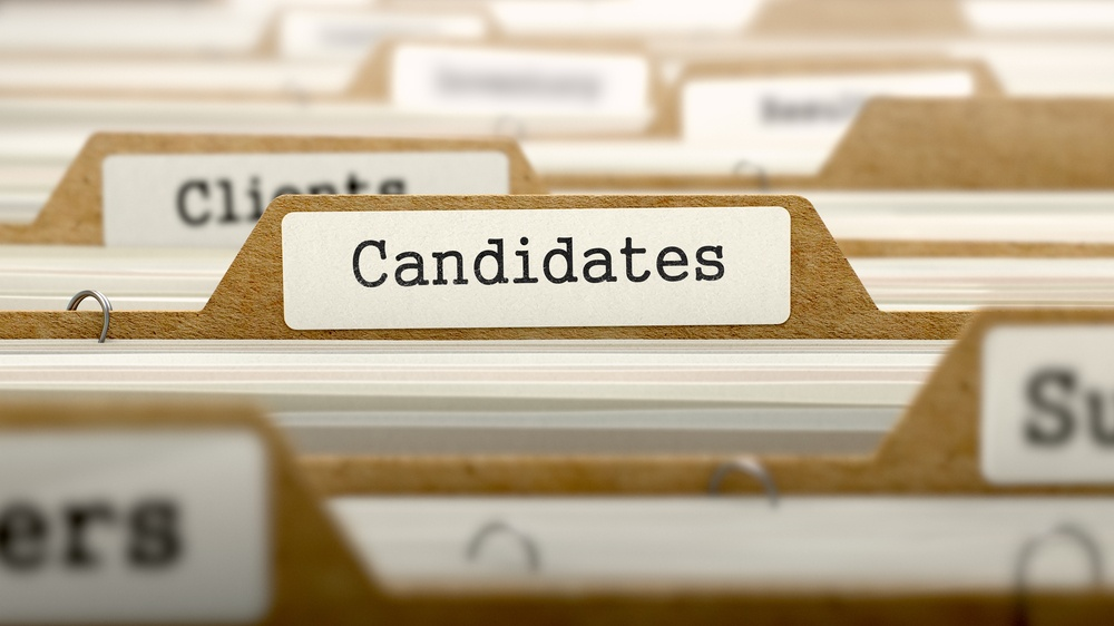 Candidates Concept with Word on Folder Register of Card Index.